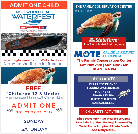 Englewood Beach Waterfest 2019 EventChildren Ticket Preview - showing race boat and turtles