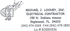 Michael J Looney, Inc. Electrical Contractor business card - 941-474-3104