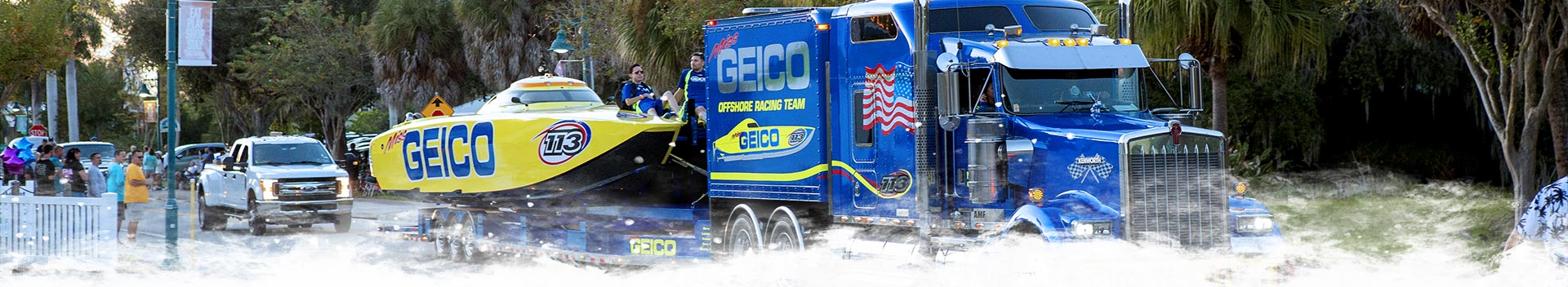 Geico Racing Boat on Dearborn Street During the Pre-Race Block Party 2019