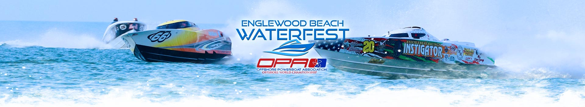 Waterfest and OPA Racing Logos with boats in the background