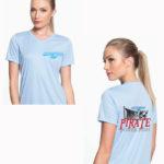 Young woman wearing light blue shirt with Pirate Poker Run logo on it