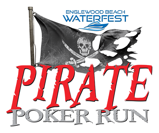 Pirate Poker Run logo showing Englewood Beach Waterfest logo and pirate flag