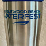tumbler with the waterfest logo printed on it